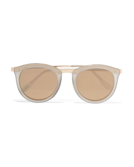 Le specs No Smirking Round-frame Acetate And Gold-tone ...