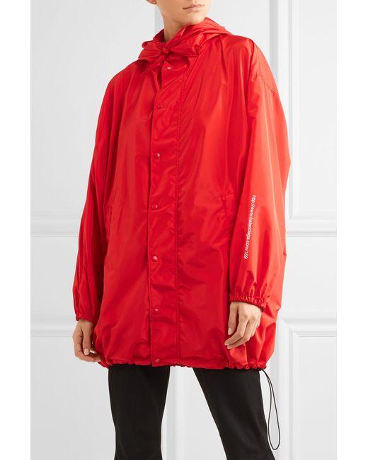 Balenciaga Hooded Shell Windbreaker Jacket In Red Lyst