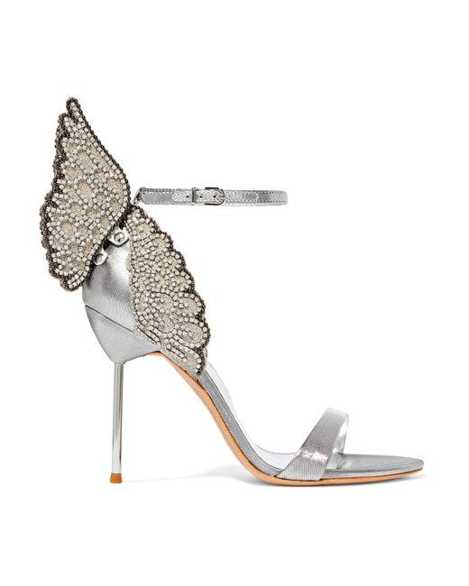 Sophia Webster | Metallic Evangeline Crystal-embellished Lamé Sandals | Lyst
