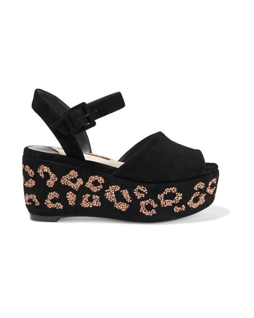 Sophia Webster | Black Suki Crystal-embellished Suede Flatform Sandals | Lyst