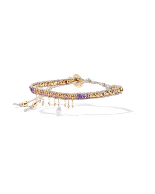 Chan Luu | Metallic Gold-plated, Amethyst And Beaded Bracelet | Lyst