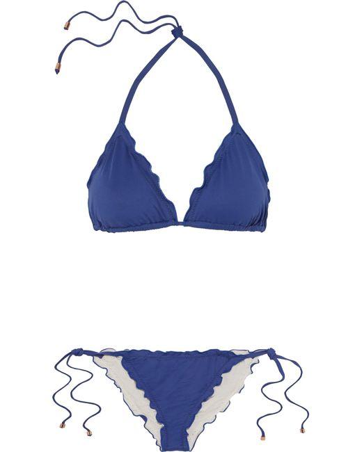 Eberjey | Blue So Solid Dakota And Avalon Ruffled Triangle Bikini | Lyst
