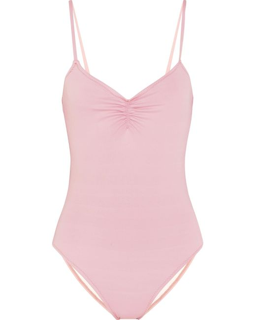 Eberjey | Pink So Solid Sasha Ruched Swimsuit | Lyst
