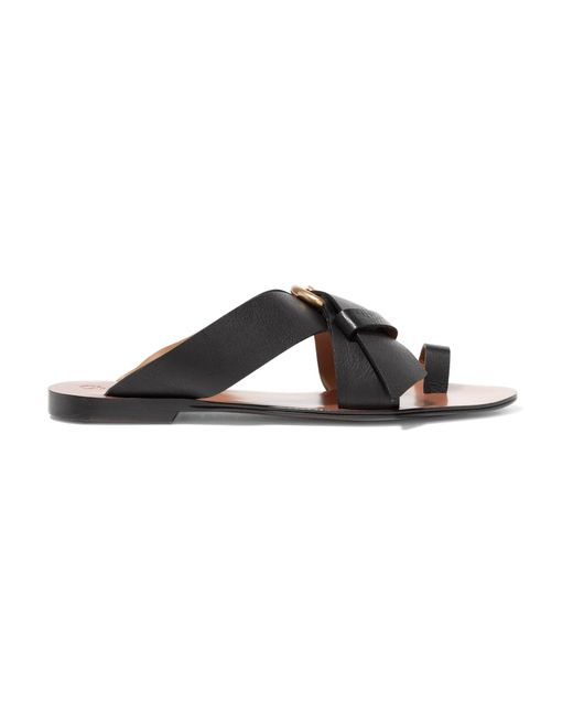 Chloé | Black Nils Textured-leather Sandals | Lyst
