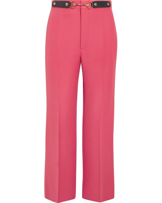 Gucci | Pink Horsebit-detailed Wool And Silk-blend Wide-leg Pants | Lyst