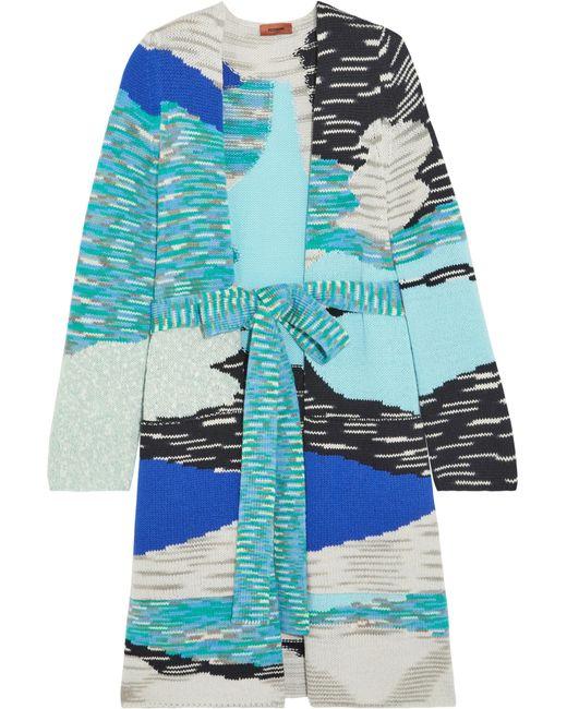 Missoni | Blue Intarsia Wool-blend Cardigan | Lyst
