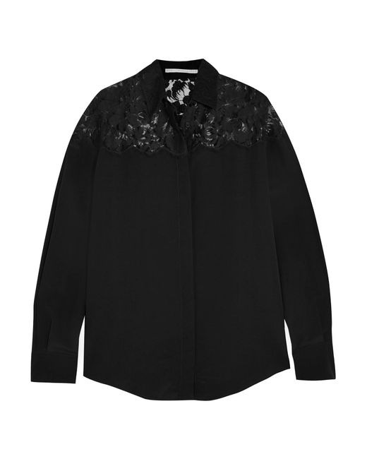 Stella McCartney | Black Frederika Lace-paneled Silk Crepe De Chine Shirt | Lyst