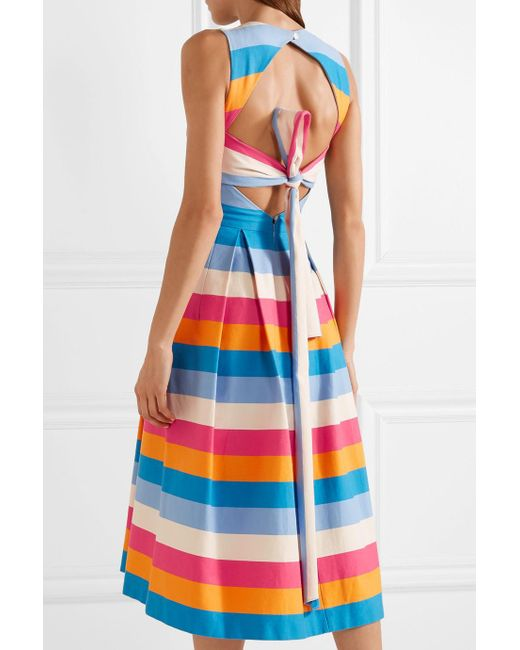 Tie-back Striped Cotton And Silk-blend Midi Dress - Blue Carolina Herrera OnXbguiU