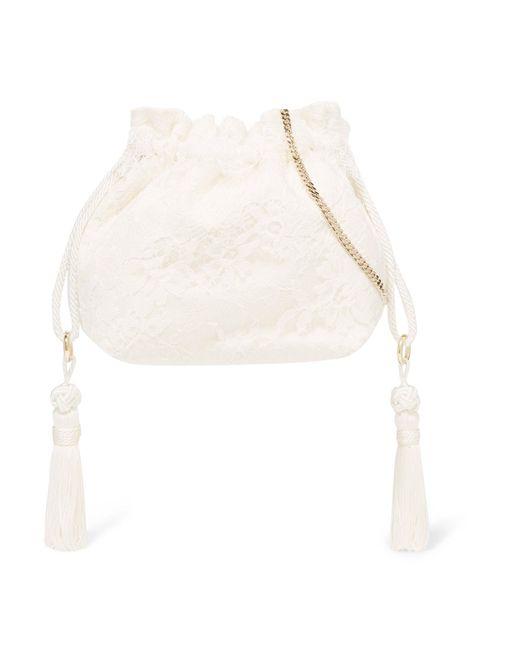 Etro   White Tasseled Lace And Silk-jacquard Bucket Bag   Lyst