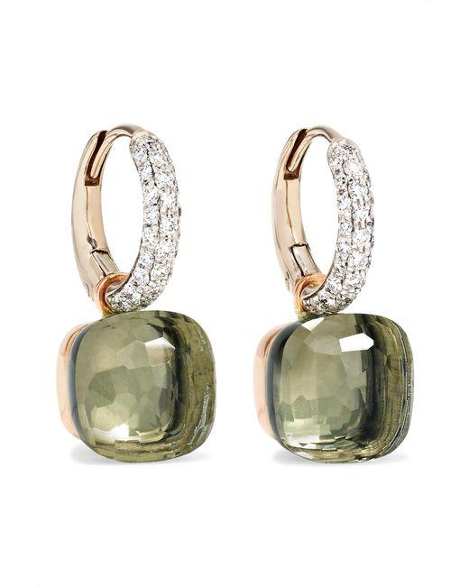 Pomellato - Metallic Nudo 18-karat White Gold, Prasiolite And Diamond Earrings White Gold One Size - Lyst