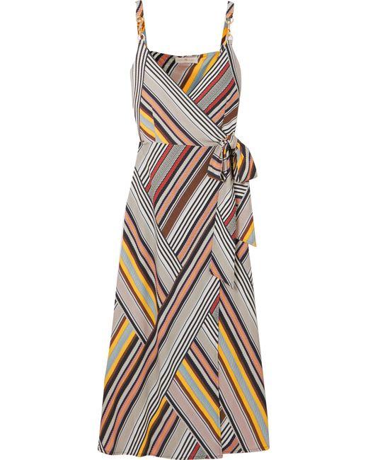 4719e9ca78ed Tory Burch - Gray Striped Jersey Wrap Dress - Lyst ...