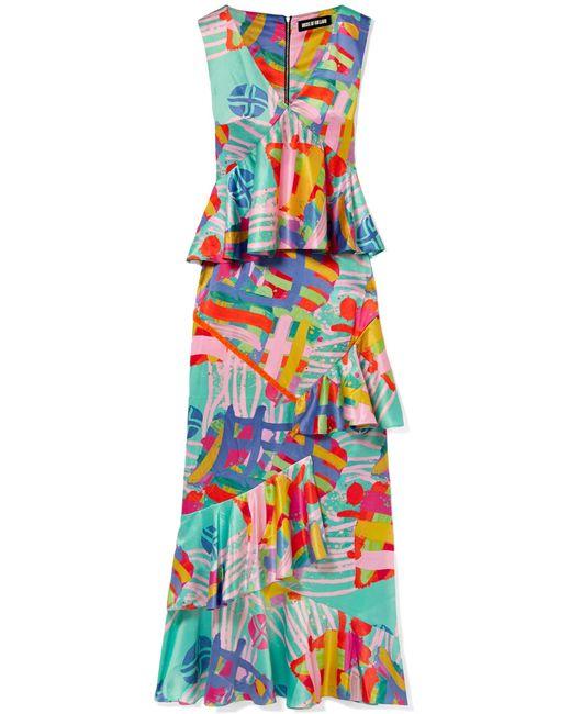 House of Holland - Multicolor Nova Ruffled Printed Satin Maxi Dress - Lyst
