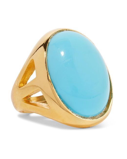Kenneth Jay Lane | Blue Gold-plated Turquoise Ring | Lyst