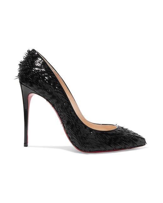 Christian Louboutin - Black Pigalle Follies 100 Fringed Patent-leather Pumps - Lyst