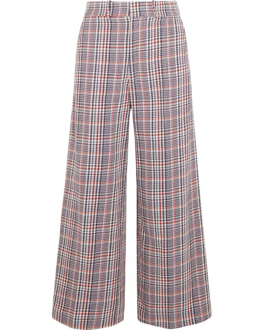 Joseph | Blue Ferrandi Checked Cotton-tweed Wide-leg Pants | Lyst