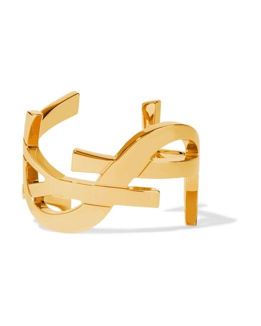 Saint Laurent | Metallic Monogramme Gold-plated Cuff | Lyst