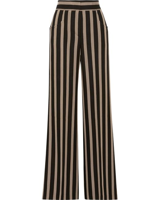 Etro | Black Striped Grain De Poudre Wide-leg Pants | Lyst