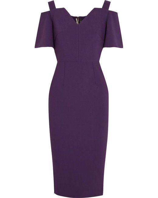 Roland Mouret | Purple Awalton Cold-shoulder Crepe Dress | Lyst