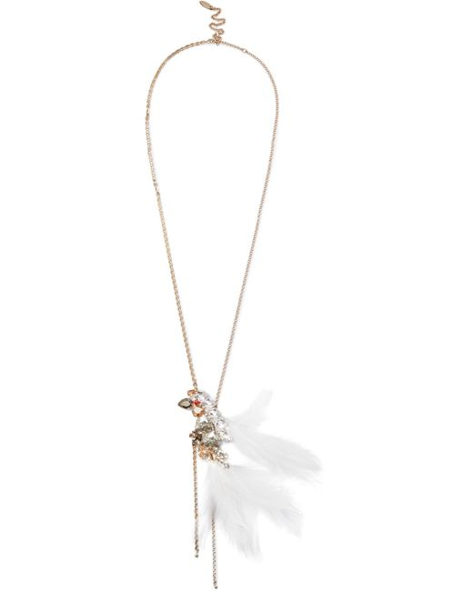 Lanvin | Metallic Gold-tone, Swarovski Crystal And Feather Necklace | Lyst
