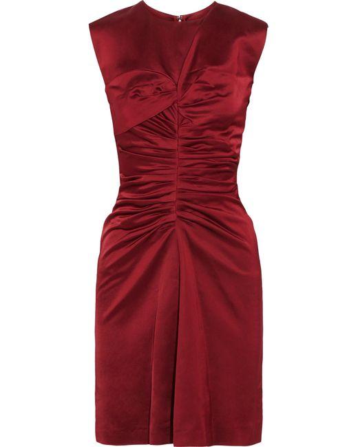 Isabel Marant | Red Esta Ruched Satin Dress | Lyst