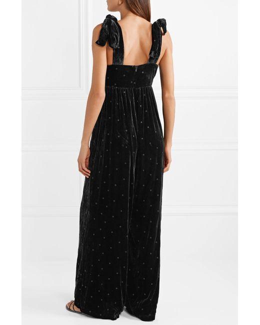 719d0f8f496b ... Ulla Johnson - Black Minnet Bow-embellished Swiss-dot Velvet Jumpsuit -  Lyst ...