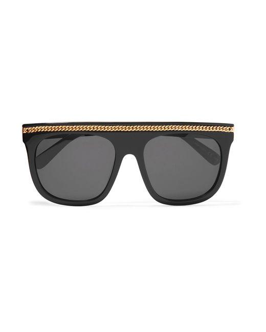 Stella McCartney | Black Chain-trimmed D-frame Acetate Sunglasses | Lyst