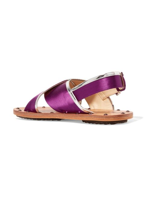 Studded Mirrored Leather-trimmed Satin Slingback Sandals - Purple Marni 6Q2SuhwTcm