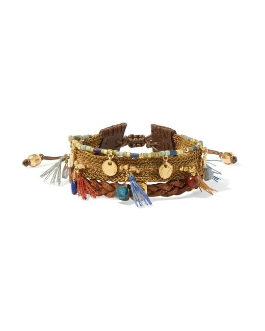 Chan Luu | Brown Gold-plated, Leather And Multi-stone Bracelet | Lyst