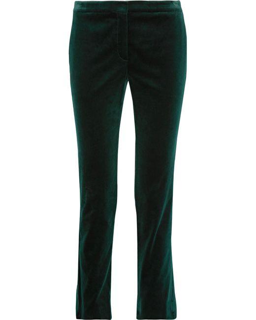 Theory | Green Cotton-blend Velvet Straight-leg Pants | Lyst