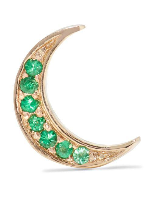 Andrea Fohrman | Metallic Mini Crescent 14-karat Gold Emerald Earring | Lyst