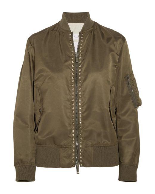 Valentino - Green Rockstud Satin Bomber Jacket - Lyst