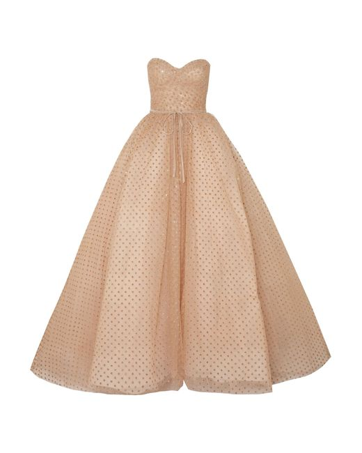 Monique Lhuillier - Metallic Strapless Glittered Polka-dot Tulle Gown - Lyst