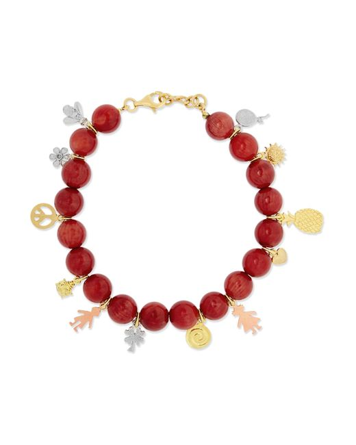 Carolina Bucci | Metallic Recharmed Lucky 18-karat Yellow, Rose And White Gold And Agate Bracelet | Lyst