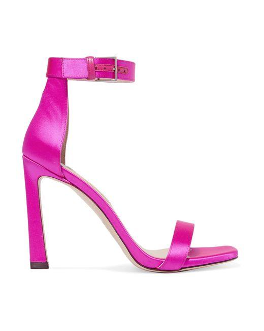 Stuart Weitzman - Purple Squarenudist Satin Sandals - Lyst