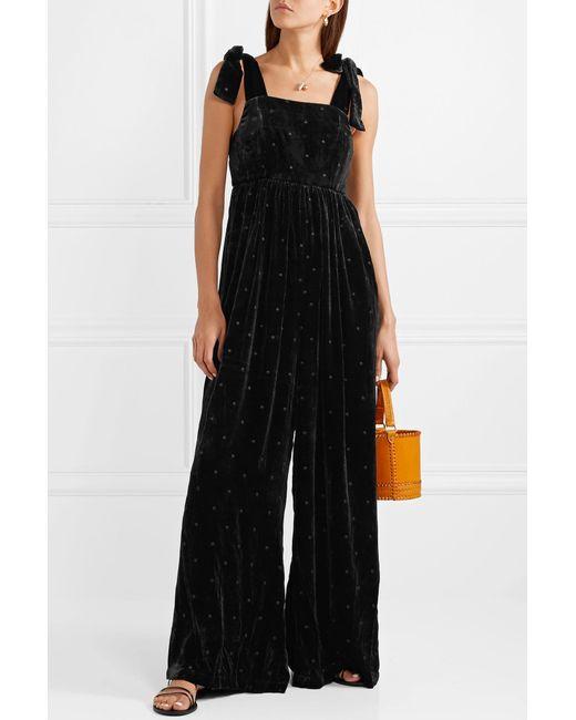 58924e24c78c ... Ulla Johnson - Black Minnet Bow-embellished Swiss-dot Velvet Jumpsuit -  Lyst ...