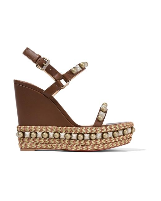 Christian Louboutin | Brown Cataconico 120 Embellished Leather Wedge Sandals | Lyst