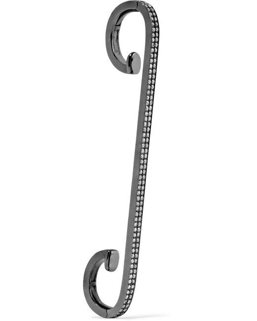 Repossi - Staple 18-karat Black Gold-washed Diamond Ear Cuff - Lyst