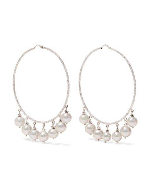 Carolina Bucci - Recharmed 18-karat White Gold Pearl Hoop Earrings - Lyst