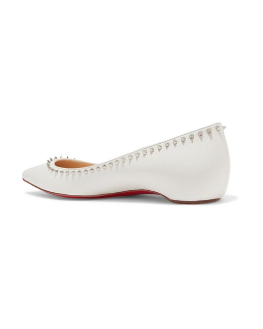 ccd429a2ca30 ... Christian Louboutin - White Anjalina Studded Leather Point-toe Flats -  Lyst ...