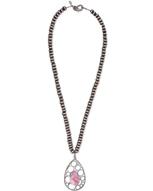 Loree Rodkin | Metallic 18-karat Rhodium White Gold, Wood, Sapphire And Diamond Necklace | Lyst