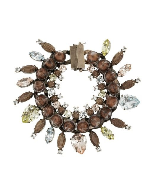 Givenchy - Brown Rose Gold-Tone, Crystal, Obsidian And Rosewood Bracelet - Lyst