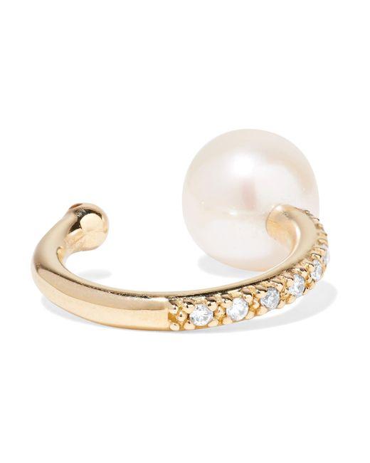 Mizuki - Metallic 14-karat Gold, Pearl And Diamond Ear Cuff - Lyst