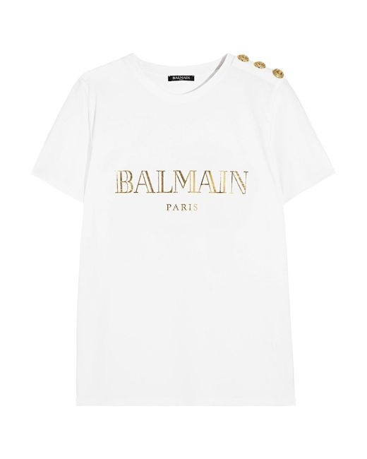 a72ae14d Balmain White Logo-print Cotton T-shirt in White - Save 51% - Lyst
