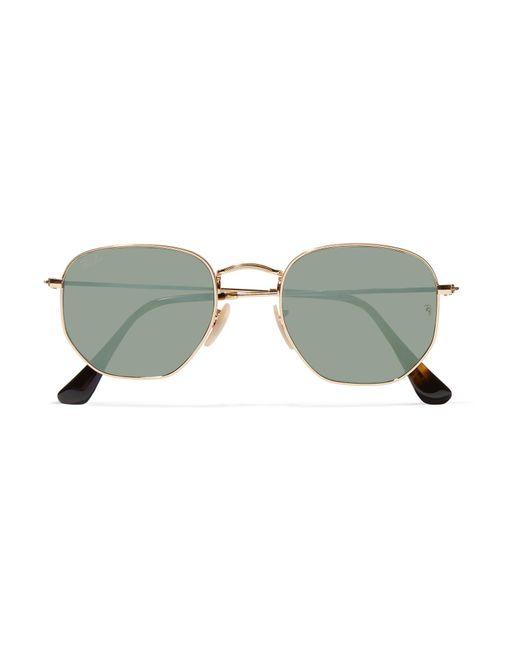 Ray-Ban | Metallic Square-frame Gold-tone Mirrored Sunglasses | Lyst
