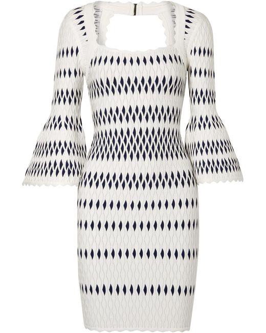 Hervé Léger - White Stretch Jacquard-knit Dress - Lyst