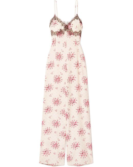 Morgan Lane - Pink Bambi Lace-trimmed Printed Silk-charmeuse Jumpsuit - Lyst