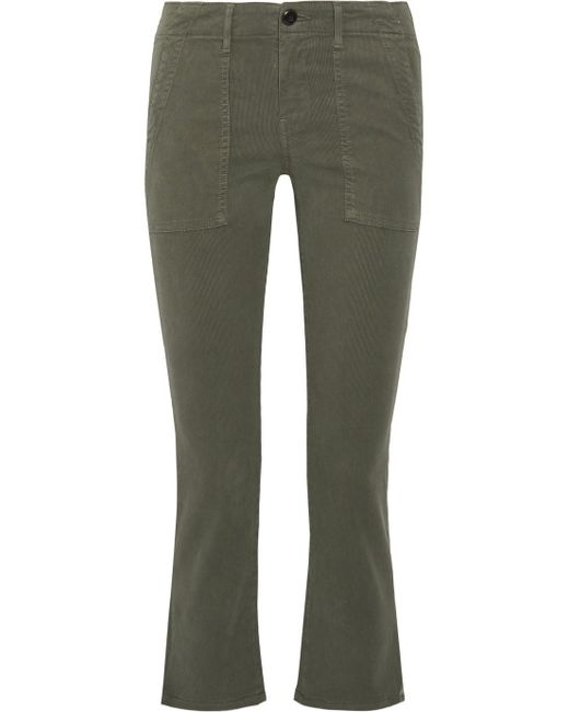 The Great - Green The Army Nerd Cropped Stretch-twill Skinny Pants - Lyst