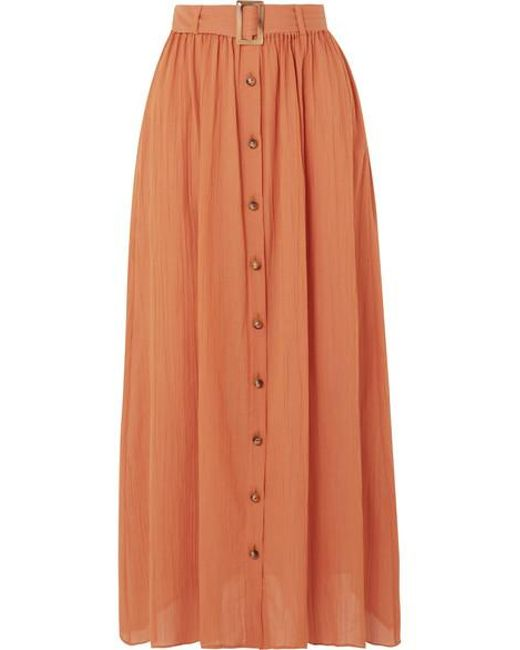 f3476a2068 Lisa Marie Fernandez Belted Cotton-gauze Maxi Skirt in Orange - Save ...