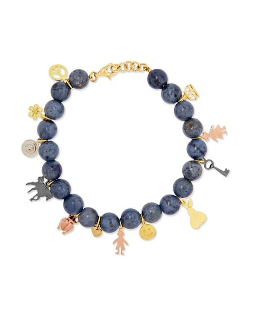 Carolina Bucci | Metallic Recharmed Lucky 18-karat Yellow, Rose And White Gold And Dumortierite Bracelet | Lyst