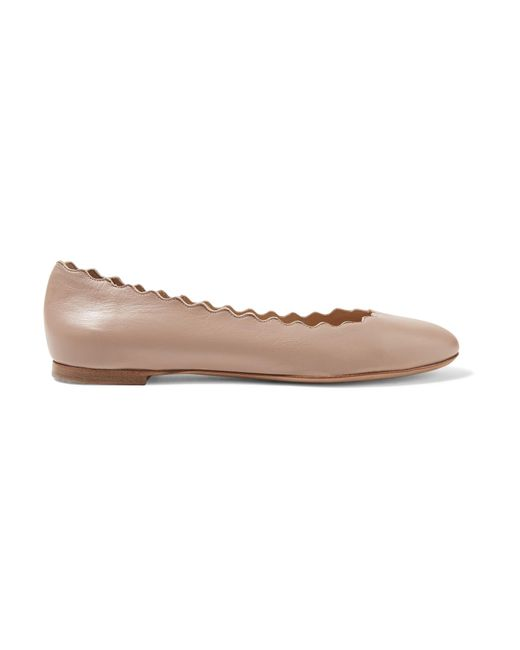 Chloé | Multicolor Lauren Scalloped Leather Ballet Flats | Lyst